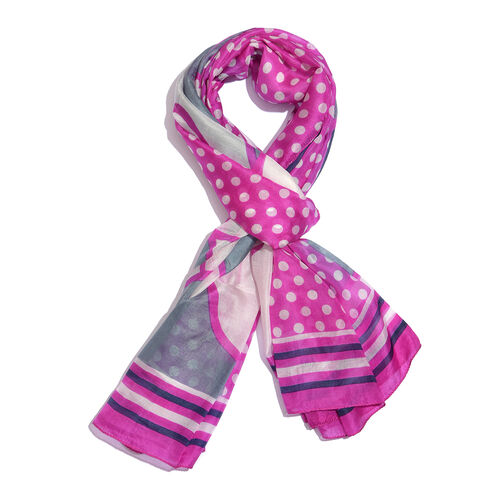 100% Mulberry Silk Fuchsia, Grey and Multi Colour Polka Dots Hand Screen Printed Scarf (Size 180X100