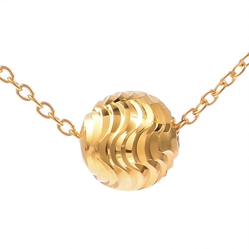 Designer Inspired Yellow Gold Overlay Sterling Silver Ball Bead Necklace (Size 18), Silver wt 3.00 G
