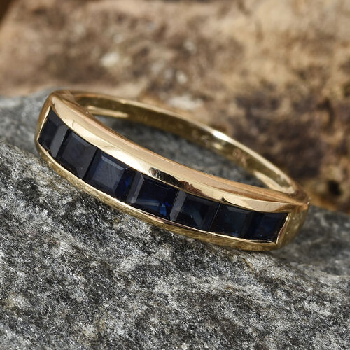 Limited Edition- 9K Yellow Gold AA Kanchanaburi Blue Sapphire (Princess Cut) Half Eternity Band Ring 1.50 Ct.
