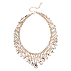 Simulated Diamond and White Austrian Crystal Necklace in Yellow Gold Tone 19 Inch