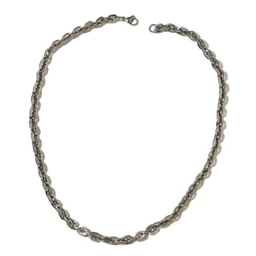 Stainless Steel Oval Link Necklace (Size 20) and Bracelet (Size 7.50)