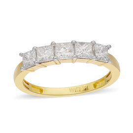 ILIANA 18K Yellow Gold Natural Certified Diamond (SI/G-H) Five Stone Ring 1.00 Ct.