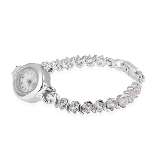 EON 1962 Japanese Movement Water Resistant White Topaz Bracelet Watch (Size 6.5) with 2 Adjustable Clasp in Sterling Silver and Stainless Steel 5.0 Ct, Metal wt 27.00 Gms