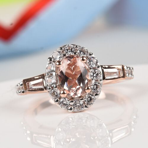 Marropino Morganite and Natural Cambodian Zircon Ring in Rose Gold Overlay Sterling Silver 1.65 Ct.