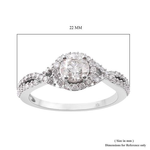 NY Close Out- 14K White Gold SGL Certified Diamond (I1-I2/G-H) Cluster Ring 1.00 Ct.Center Diamond 0.60 Cts
