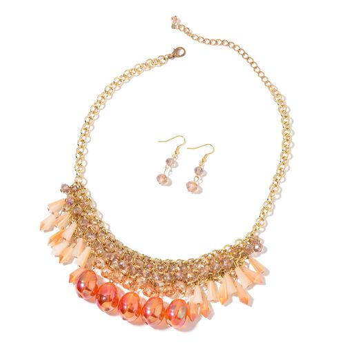 Simulated Fire Opal, Champagne and Multi Colour Beads Necklace (Size 18 with 2 inch Extender) and Ho