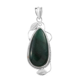 22.67 Ct Green Aventurine Solitaire Pendant in Sterling Silver