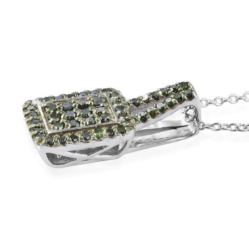 Green Diamond (Rnd) Pendant With Chain (Size 20) in Platinum and Green Overlay Sterling Silver 0.330 Ct.