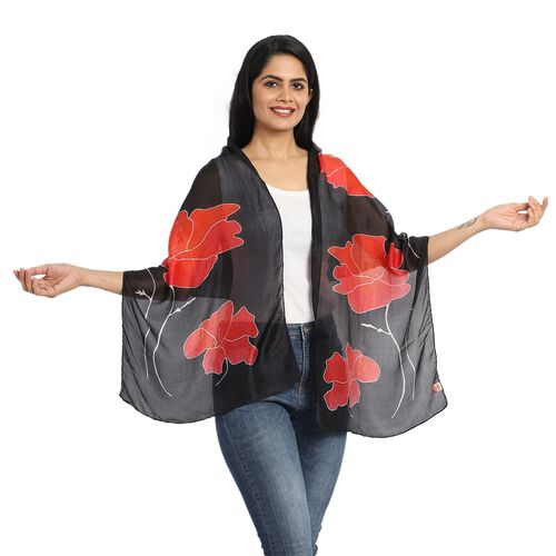 100% Mulberry Silk Floral Print Scarf (180x50cm) - Black and Red