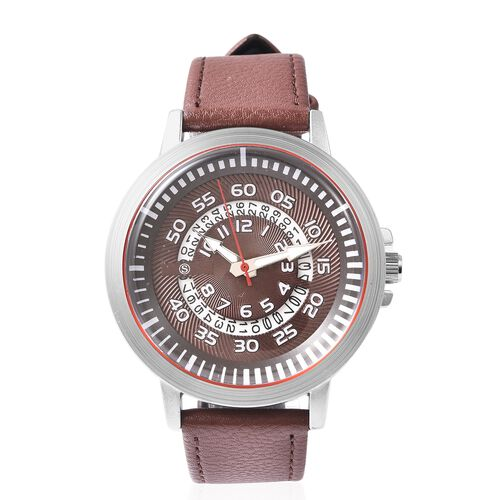 STRADA Japanese Movement Water Resistance Watch with Date in Stainless Steel - Chocolate