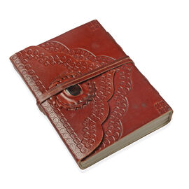 Handmade Paper Notebook with Black Onyx Studded Genuine Leather Embossed Cover (Size 17x12 Cm)