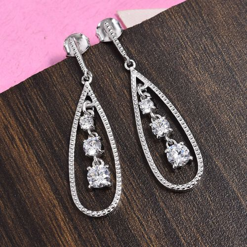 J Francis - Platinum Overlay Sterling Silver (Rnd) Drop Earrings (with Push Back) Made with SWAROVSKI ZIRCONIA 1.64 Ct.