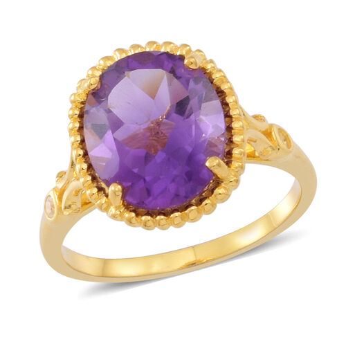 Amethyst (Ovl 3.90 Ct), Natural White Cambodian Zircon Ring in 14K Gold Overlay Sterling Silver 4.000 Ct.