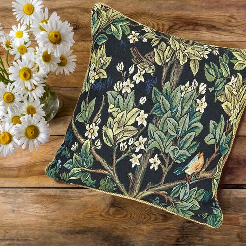 Signare Tapestry Art Cushion Cover inspired by William Morris Tree of Life (Size 45x45cm) -Green