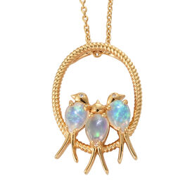 Ethiopian Welo Opal (Pear), Natural Cambodian Zircon Birds and Circle Pendant With Chain in 14K Gold Overlay Sterling Silver 1.500 Ct, Silver Wt: 6.14 Gms.