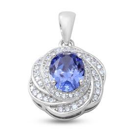 Simulated Tanzanite , Simulated Diamond Pendant in Rhodium Overlay Sterling Silver