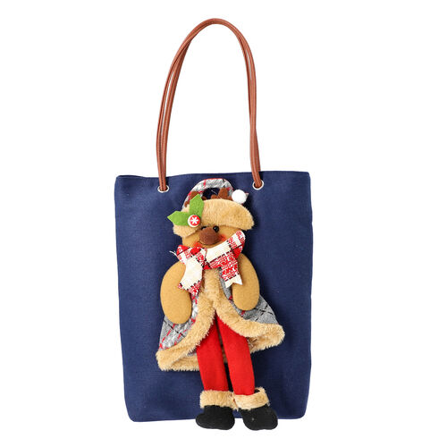 Christmas Collection - 3D Snowman Tote Bag - Size 26x32cm - Navy