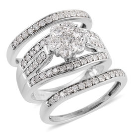 NY Close Out Deal Set of 3 1.50 Ct Diamond Floral Band Ring in 14K White Gold 10.40 Grams I1 GH