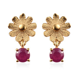African Ruby (Rnd) Floral Earrings in 14K Gold Overlay Sterling Silver 1.25 Ct.