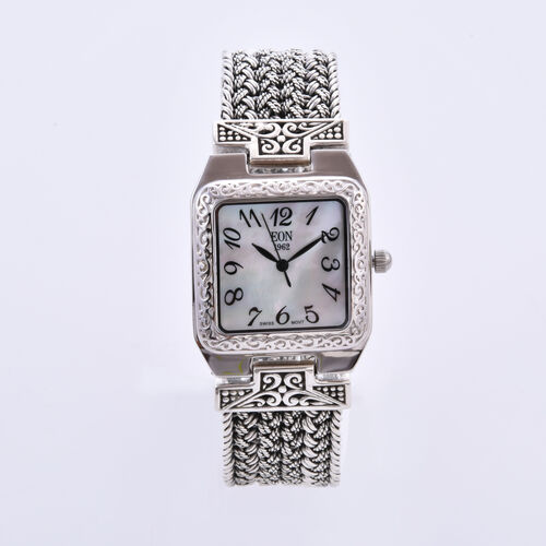 Royal Bali Collection - EON 1962 Swiss Movement Water Resistant Bracelet Watch (Size 7.5) in Sterlin