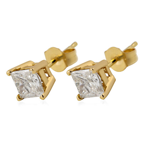 NY Close Out Deal -14K Yellow Gold EGL Certified Diamond (Princess Cut) (I2-I3/H-I) Earrings (with Push Back) 1.00 Ct.