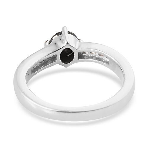 Black Diamond (Rnd), Diamond Ring in Platinum Overlay Sterling Silver 0.950 Ct.