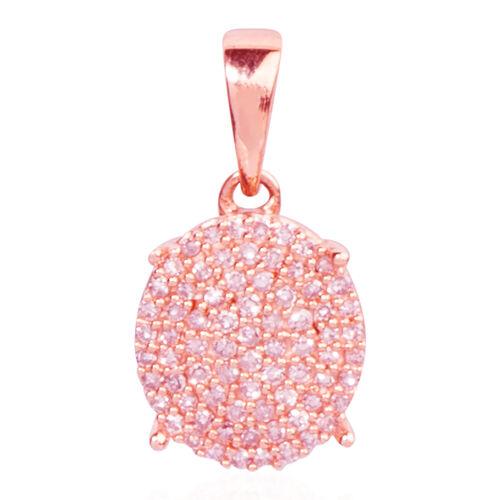 9K Rose Gold Natural Pink Diamond I2-I3 (Rnd) Cluster Pendant 0.330 Ct.