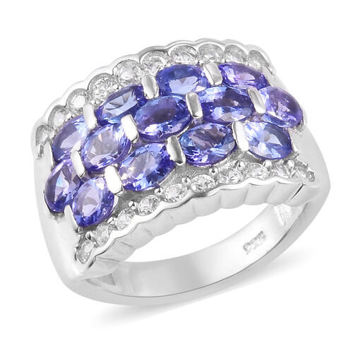 AAA Tanzanite and Natural Cambodian Zircon Ring in Platinum Overlay Sterling Silver 3.25 Ct, Silver