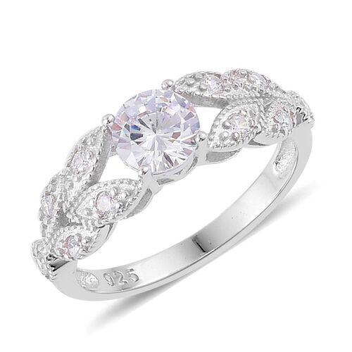 Aaa Simulated White Diamond Ring In Platinum Overlay