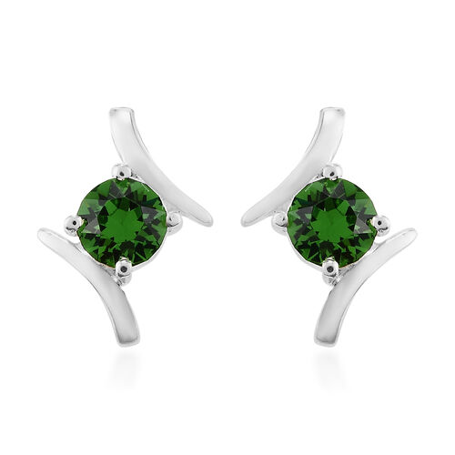 J Francis Crystal from Swarovski Fern Green Crystal Earrings in Sterling Silver