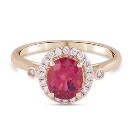 ILIANA 18K Yellow Gold AAA Rubellite and Diamond (G-H/S-I) Halo Ring 1.75 Ct.