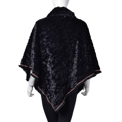 Rose Pattern Faux Fur Poncho - Black (One Size)
