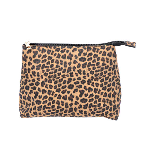 2 Piece Set - Leopard Skin Pattern Tote Bag (Size 38x32x13 cm) with Zipper Closure and Pouch Bag (Size 23x8x18cm) - Brown and Black