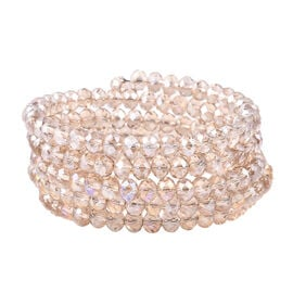 Simulated Champagne Diamond Beaded Bangle (Size 7)