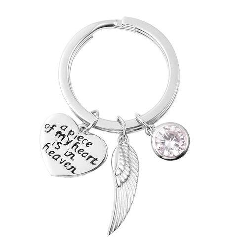 Charms De Memoire Sterling Silver Simulated Diamond, Angel Wing and Heart Charms in Key Chain