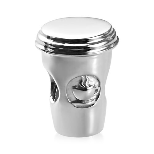 Charmes De Memoire - Platinum Overlay Sterling Silver Coffee Cup Charm, Silver wt 3.00 Gms