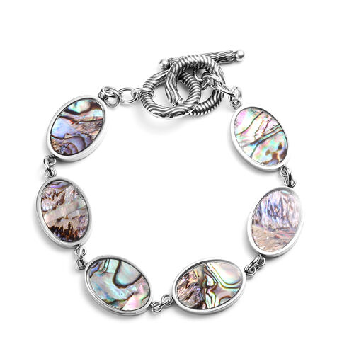 Abalone Shell and White Mother of Pearl Bracelet (Size 7.25) in Stainless Steel