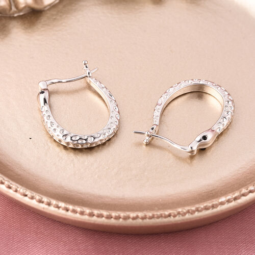 RACHEL GALLEY - Boi Ploi Black Spinel Hoop Earrings (with Clasp) in Rhodium Overlay Sterling Silver