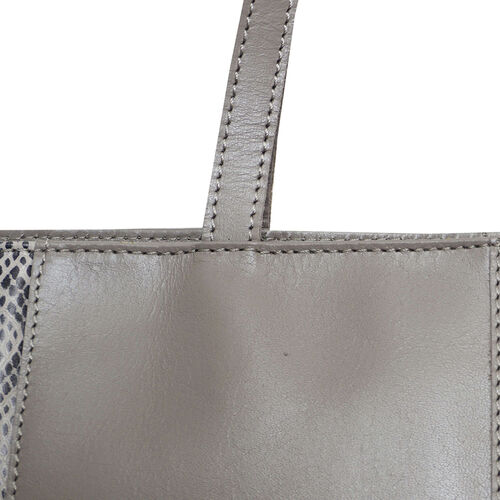 Assots London Animal Print Leather Tote Bag (Size 39x29x10.5cm) - Grey