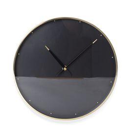 Decorative Round Shape Wall Clock (Size 28x28x4.5 Cm) Golden Colour Dot