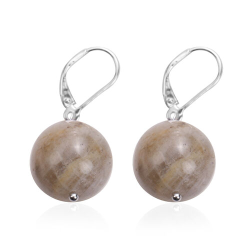 Labradorite Lever Back Earrings in Rhodium Overlay Sterling Silver 49.25 Ct.