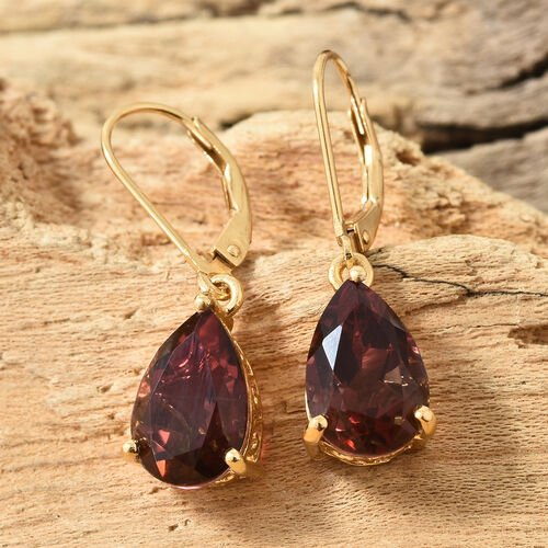 Finch Quartz (Pear 12x8 mm) Earrings (With Lever Back) in 14K Gold Overlay Sterling Silver 7.000 Ct.