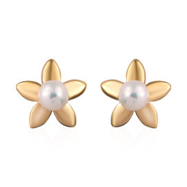 Fresh Water Pearl (Rnd) Star Stud Earrings (with Push Back) in 14K Gold Overlay Sterling Silver