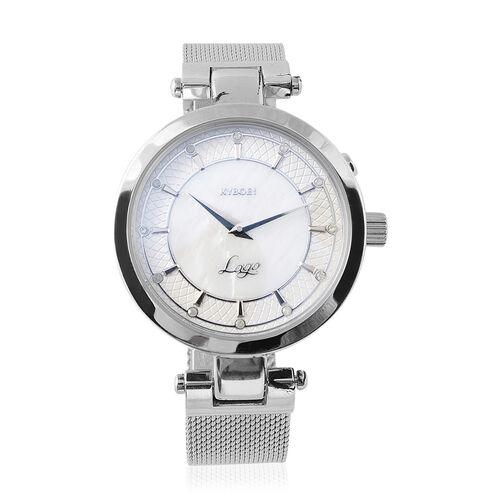 KYBOE Lago Elegance 12 Glowing Diamonds Studded LED Watch - Silver - 36mm dial