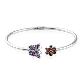 GP Amethyst (Pear), Mozambique Garnet, Kanchanaburi Blue Sapphire and Diamond Butterfly and Floral Bangle (Size 7.5) in Platinum Overlay Sterling Silver 2.000 Ct, Silver wt 8.73 Gms.