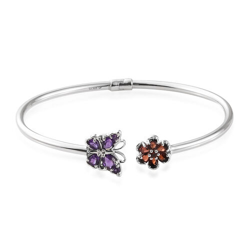 GP Amethyst Mozambique Garnet and Diamond Butterfly Floral Bangle Size 7.5 in Silver 8.73 Gms