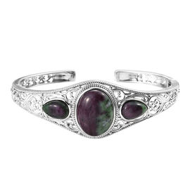 28.75 Ct Ruby Zoisite Open Cuff Bangle in Platinum Plated Silver 22.66 Grams 7.5 Inch