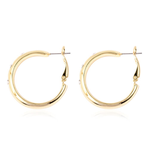 White Austrian Crystal Flush Set Hoop Earrings (with Clasp) in Yellow Gold Tone