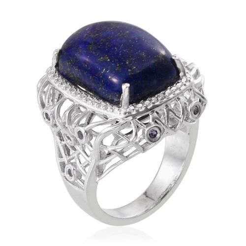 Lapis Lazuli (Cush 15.50 Ct), Iolite and Diamond Ring in Platinum Overlay Sterling Silver 15.760 Ct.