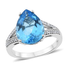 9.75 Ct Marambaia Topaz and Zircon Soltaire Ring in Platinum Plated Silver